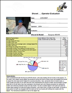 VISTA shovel operator evaluation