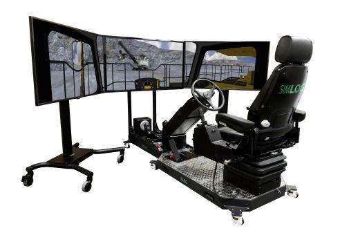 haul truck simulator with three screens