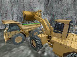 wheel loader loads off-highway haul truck in simulator