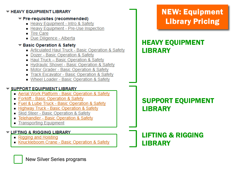 VISTA Silver Series heavy equipment training program libraries