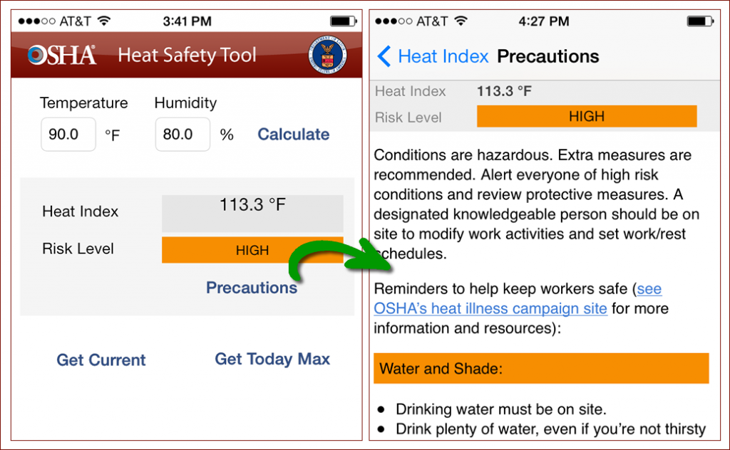 OSHA Heat Index App